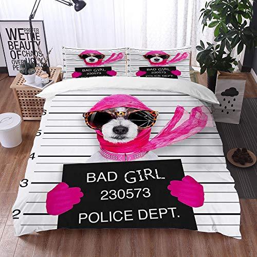 Juego de Fundas de edredón,Diva Lady Girl Dog posando para una Encantadora Mugshot, como Criminal y ladrón con Gafas de Sol rotas y bufand,Fundas Edredón 240 x 260 cmcon 1 Funda de Almohada 40x75cm