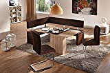 German Furniture Warehouse 4 Piece Dining Set, Dallas Breakfast Nook Brown Leatherette Corner Bench