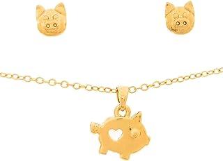 Set de Joyería Collar y Aretes de Cochito - Chapa Oro 22k - Cadena 45cm - Elegantia Jewelry