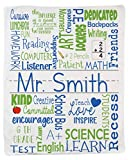 Personalize Teacher Blanket, Throw Blanket for Adults. Soft with Vibrant Colors.