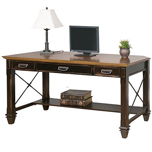 "Hartford Two-Tone Writing Desk - 60""W Coffee Espresso/Golden Oak Top Dimensions: 60""W x 28""D x 31""H Weight: 170 lbs"
