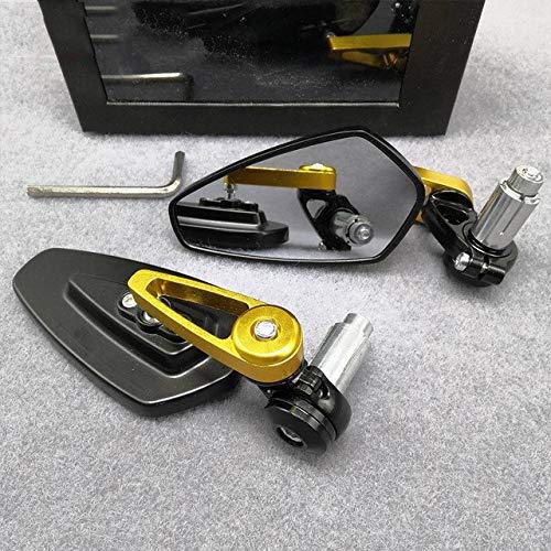 Qgg Moto Espejos Laterales Accesorios de Motos Espejo retrovisor con 7/8' 22mm Extremo de la Barra Espejo Retrovisor Moto Moto Manillar Espejos retrovisores Cubierta de Espejo Lateral