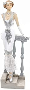 Comfy Hour Glamour Elegance Victorian Style Lady Collection Standing Lady Leaning Against Stair Handrail Collectible Figurine,13-inch Height, Silvery, Polyresin