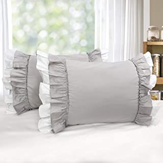 Softta 20x30 Gray White Ruffles Pillow Covers 2 pcs Pillowshams Bow Bowknot 100% Egyptian Cottongrey Twin/Full/Queen (NO Comforter NO Filling)