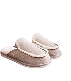 Non-Slip Men and Women Simple Thick Bottom Cotton Mop Winter Warm Couple Cotton Slippers Slippers Anti-Skid Indoor Cosy Shoes (Color : Khaki, Size : 37/38)