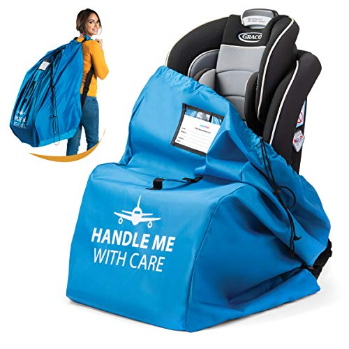 Car Seat Travel Bag for Airplane. Bonus E-Book. Safe & Secure. Pouch and Backpack Easy to Carry | Ideal Airplane Gate Check Bag for Car Seats & Booster | Universal Size