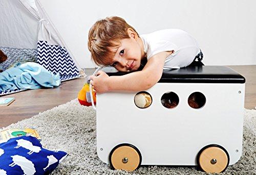 Pinolino Spielzeugkiste Jim, aus Holz und Kunstleder, mit Zugschnur und gummierten Holzrädern, Deckel abnehmbar, ab 3 J., weiß lackiert/Kunstleder schwarz - 2