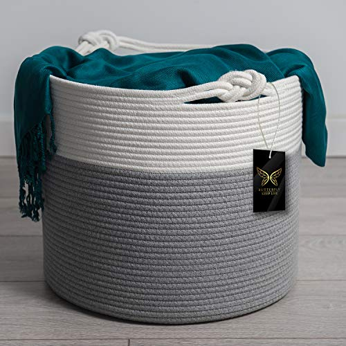 Large Cotton Rope Basket   Blanket Basket for Living Room   Woven Basket Use for Throw Pillow, Clothing, Toys Storage   Stylish Nursery Organizer   Baby Laundry Basket   Home Decor Addition