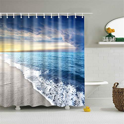 Fansu Duschvorhang Anti-Schimmel, 3D Drucken 100% Polyester Bad Vorhang Wasserdicht Anti-Bakteriell mit C-Form Kunststoff Haken mit 12 Ringe für Badzimmer (Blaues Meer,90x180cm)