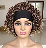 Headband Curly Wig for Black Women 11inch short Water Wave Curly Headband Wig(ombre blonde)