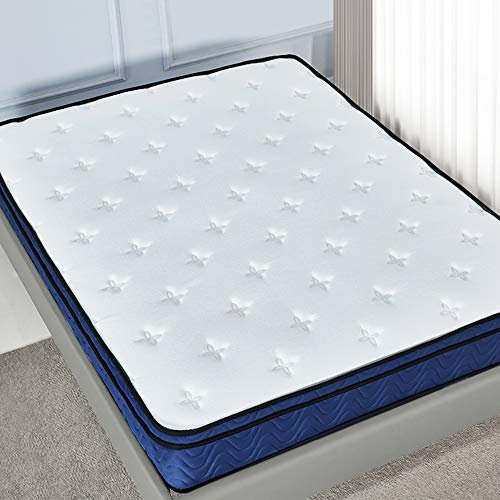 LANKOU 10 inch Latex Hybrid Coil Spring Mattress Media firm/Cooling Bed in a Box-Pocket Innerspring Mattress Pressure Relief with Multi-Functional 9-Zone Support System Medium Firm (5FT)