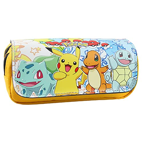 Pokemon Pikachu JPYH Estuche para lápices de gran capacidad Bolso con Cremallera Estuche para lápices de Dibujos Animados para lápices Útiles Escolares para Adolescentes