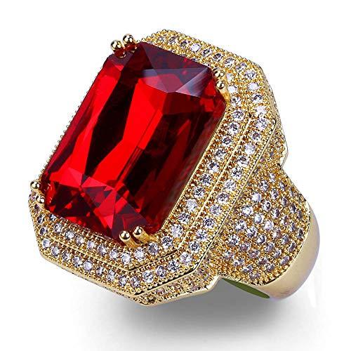 Hip Hop Heren en Vrouwen Ruby Ring, Zircon Hipster Street Lovers Love Engagement Ring Gift Souvenir Sieraden/goud.