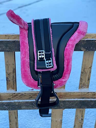 Equipride Bareback - Silla de montar con estribos y cincha (color rosa hielo)