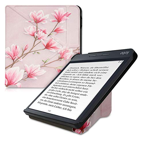 kwmobile Origami Case Compatible with Kobo Libra H2O - Slim Premium PU Leather Cover with Stand - Magnolias Light Pink/White/Dusty Pink