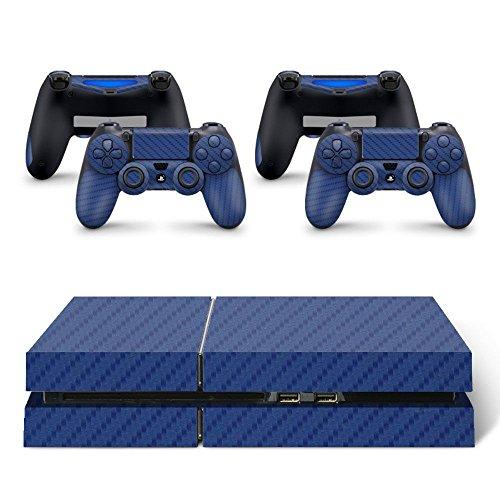 Skin Adesivo Protetor 4D Fibra de Carbono Playstation 4 (4D Azul)