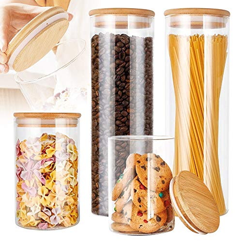 YEVIOR Glass Food Storage Jars Containers, High Borosilicate Glass Food Storage Jar with Airtight Bamboo Lids, Kitchen Clear Glass Canisters for Coffee, Flour, Sugar, Candy, Cookie, Spice, Set of 4
