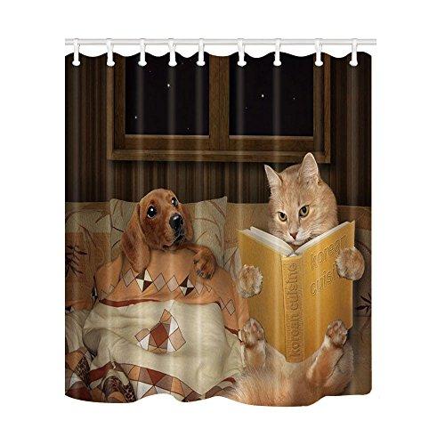 HMGBRHR Duschvorhang Mode Süße Katze mit Maus Duschvorhänge Haustiere drucken Badesiebe Polyestergewebe wasserdicht & schimmelresistent mit