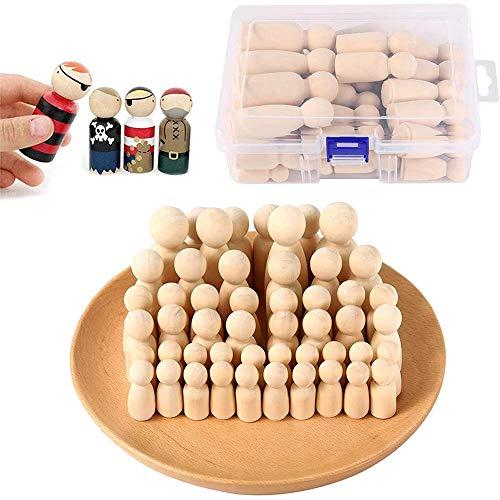 Holzfiguren Puppen, 50 Stück Unvollendete Holz Familie Figuren,DIY natürliche Holzfiguren Hochzeit Klein DIY Holzfiguren Mann Frau Junge Mädchen Kinder für Geburtstag Dekoration Bemalen Basteln