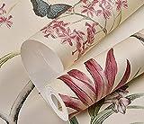 Fondo de pantalla País retro idílico flor y pájaro papel pintado no tejido sala de estar dormitorio TV sofá papel tapiz de fondo 001