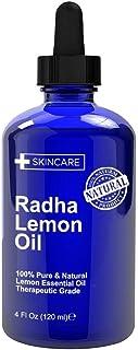 Radha Beauty Lemon Essential Oil 4oz - 5X Extra Strength 100% Pure & Natural Therapeutic Grade - Steam Distilled Premium Q...