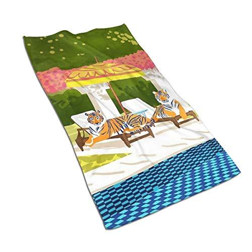 Genertic 27.5 * 15.7in Handdoek Tijger rusten In De Zon Ligstoel Basken In De Zon Zachte Super Absorberende Fluffy Handdoek Katoen Gepersonaliseerde Vierkant Gezicht Zacht Hotel Bad