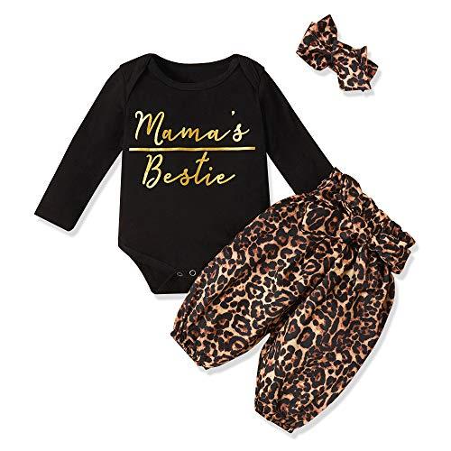 Newborn Baby Girl Clothes Mama's Bestie Romper + Leopard Pants +Leopard Headband 3PCS Winter Outfit Set 0-3 Months