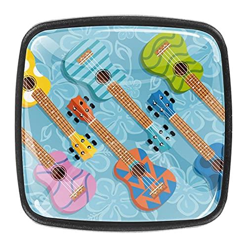 4 pomos cuadrados para gabinetes de coche, gabinetes de cocina o palancas de cajón colorido ukelele guitarra