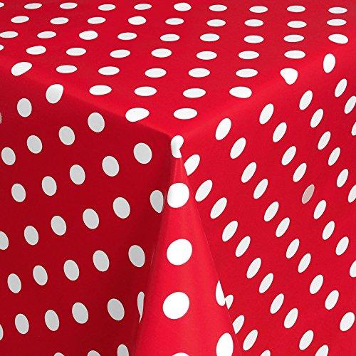 WACHSTUCH Tischdecken Gartentischdecke mit Fleecerücken Gartentischdecke, Pflegeleicht Schmutzabweisend Abwaschbar Punkte Rot Weiss 100x 140 cm - Größe wählbar