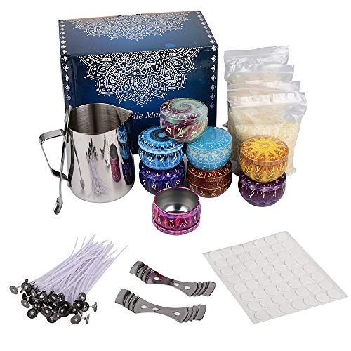 Candle Making Kit, DIY Soy Candle Making Kit for Adults, Candle Making Supplies, Including Soy Wax, Mixing Spoon, Wicks, Tins, Melting Pot, Center Devices, Wick Stickers