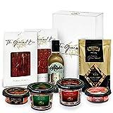GOURMET BOX | Picoteo | Cesta Gourmet Regalo con Productos Ibéricos Delicatessen | Picos Artesanos y Aceite de Oliva virgen extra | Cesta de Navidad