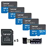 Lexar Professional 667X Video 64GB U3 V30 Class 10 MicroSDXC UHS-I Memory Card (5-Pack) with SD Adapter and Ritz Gear Card Reader