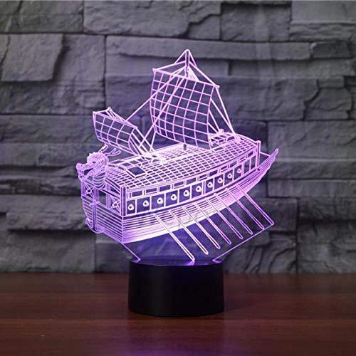 3D Night Light Sailing Boat 3D Night Light Led 7 Color Change Desk Lamp Sitting Room Lights Novelty Led Christmas Gift Lamp