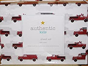 authentic kids (ALL COTTON) 3-pc FIRE ENGINE / FIRE TRUCK TWIN SIZE Sheet Set