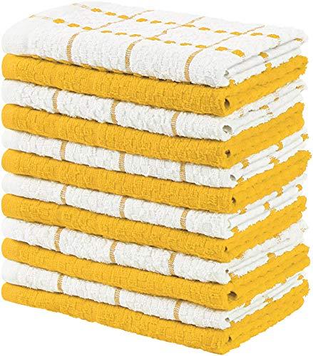 Utopia Towels - 12 Toallas de Cocina, paños de Cocina (38 x 64 cm) (Amarilloy Blanco)