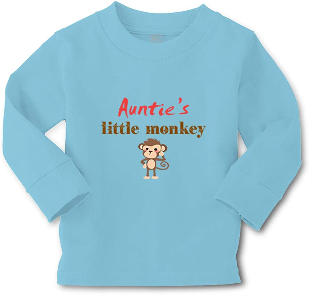Cute Rascals Kids Long Sleeve T Shirt Auntie's Little Monkey Aunt Funny Boy & Girl Clothes