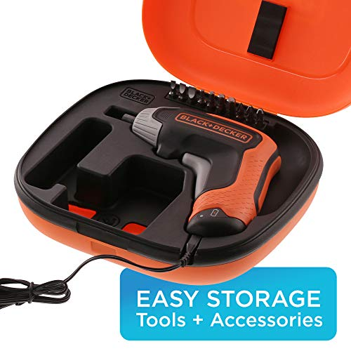 BLACK+DECKER 4V MAX Cordless Screwdriver, Fast Charge, 1-Inch Assorted Bits (BCF611CBAPB)