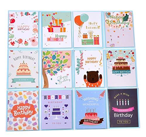 24 biglietti d'auguri Biglietto per feste di compleanno - Biglietti d'auguri multipack con buste - Biglietti per gli amici - Design carino (105)