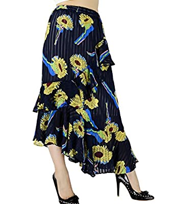 YSJERA Women's Pleated A-line Summer Bohemia Floral Chiffon Swing Skirts