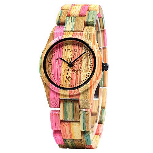 BEWELL Damen Uhr Holz Analog Japanisches Quarzwerk mit Bambus Armband Rund Armbanduhr Frauen (Mehrfarbig 2)
