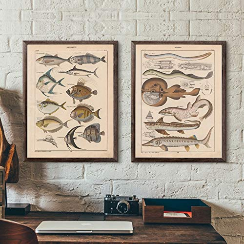 Fischen Vintage Plakat Büro Wandkunst Leinwand nach Hause Wanddekoration,Rahmenlose Malerei,60X80cmx2