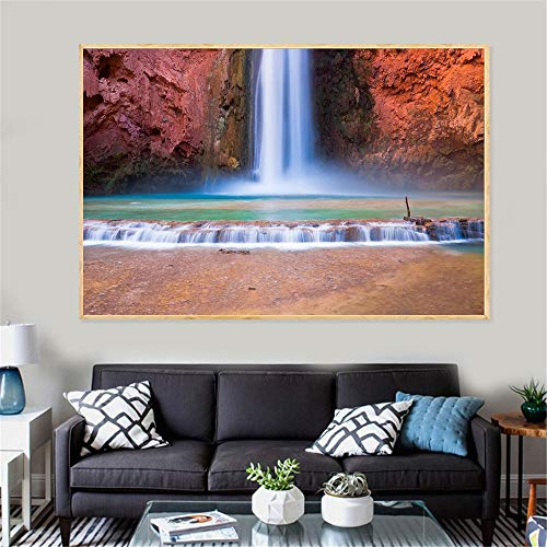 KWzEQ Nature poster waterfall painting forest spring decoration mason landscape wall artist home decoration50X75cmFrameless painting