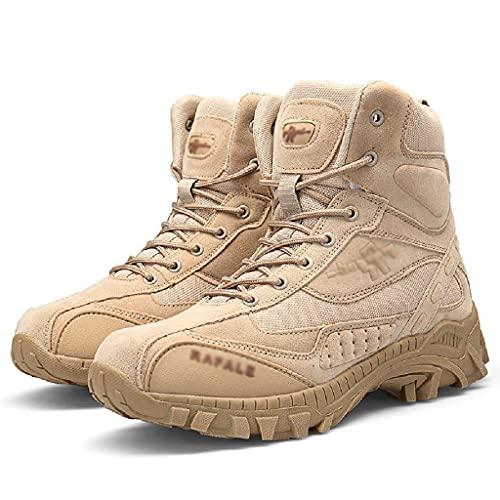 Botas De Senderismo Al Aire Libre Para Hombres, Botas Militares De Combate Con Punta De Seguridad Botas Altas Transpirables Fuerzas Especiales Zapatos Tácticos Del Ejército De Gran Tamaño,Khaki-43