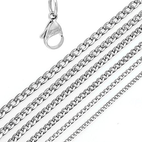 DonDon Collar de Acero Inoxidable masivo para Hombres Longitud 56 cm - Ancho 0,45 cm
