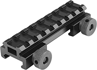Fyland Low Profile Picatinny Rail, Riser Mount with See Through Hole for Scopes/Optics and Red Dots, 0.5'' High, 3.35'' Long, 8 Slot