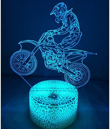 3D Ilusión Optica Moto Luz Nocturna 7 Colores Cambio de Botón Táctil USB de Suministro de Energía LED Lámpara de Mesa Lámpara Regalo de Cumpleaños Navidad