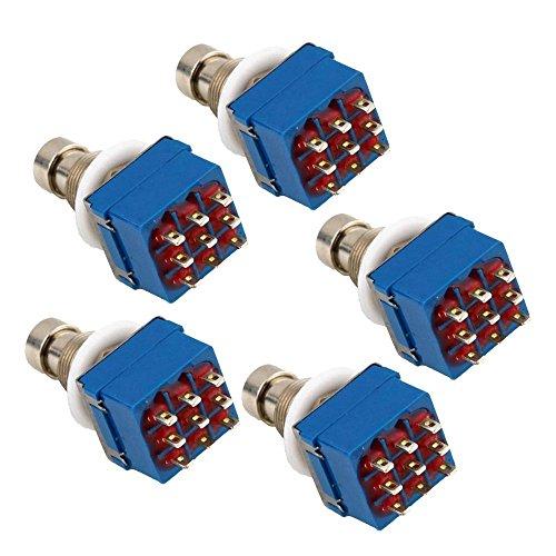 Beauneo 5X 3PDT 9 Pin Stomp Gitarren Effektpedal Fu?Schalter True Bypass Metal Silber + Blau