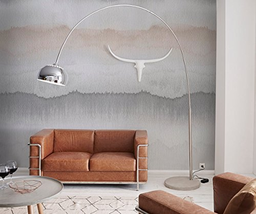 Stehlampe Big-Deal Deluxe Silber verchromt mit Dimmer und Betonfuß Bogenlampe