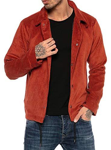 Redbridge Giacca di Velluto per Uomo Giubbino da Mezza Stagione Stile Vintage Rosso L