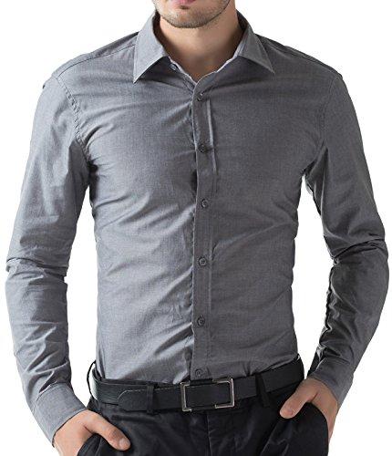 Paul Jones Men's Solid Dress Shirt Long Sleeve Button Casual Shirt Dark Grey